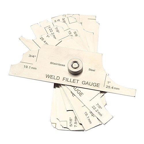 Ginode 7PCS Fillet Weld Set Gage Rl Gauge Welding Inspection Test Ulnar Metric & Inch Measure Tools (Fillet Weld Set)