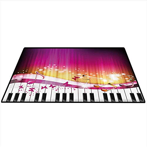 Abstract Anti-Skid Area Rug Piano Keys with Butterflies Stars and Musical Notes Romantic Artwork Artwork Living Dinning Room and Bedroom Rugs 5'x6' (W150cmxL180cm) Hot Pink Yellow White