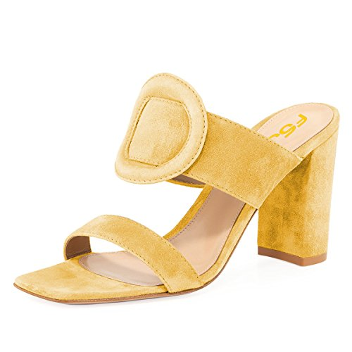 Size Dress US Chunky 4 Heels Women On Sandals Toe Open Shoes 15 Mules Casual Chic Yellow Slip FSJ anxBPqOn