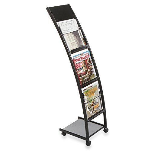 Rolling Black Metal 3 Pocket Literature Display Stand / Office Magazine & Brochure Catalog Organizer - Newspaper Rack Display