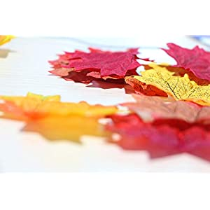 AmyHomie 300 Artificial Maple Leaves in a Mixture Colors Autumn Table Scatters for Fall Weddings & Autumn Parties, 6 4