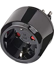 Brennenstuhl reisstekker/reisadapter (reisstekkeradapter voor: Italiaanse stopcontact en eurostekker) kleur: zwart