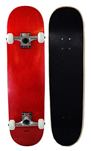 Runner Sports Complete Full Size Standard Maple Deck Skateboard (Red) - Maple Complete Skateboard