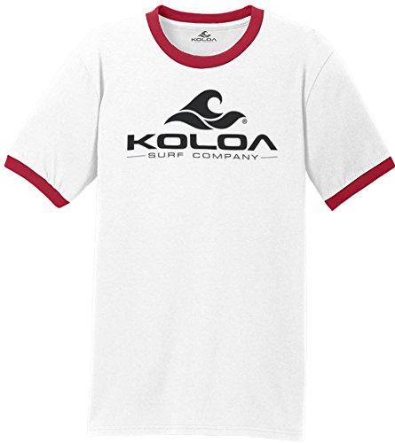 - Koloa Classic Wave Logo Ringer T-Shirt-WhiteRed/Black-M