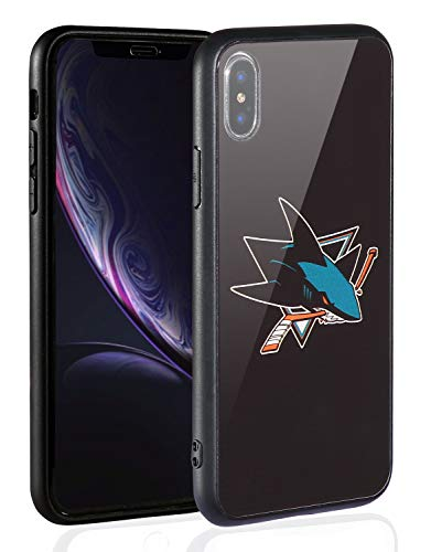 Sportula NHL Phone Case for iPhone X/iPhone Xs, Thin Tempered Glass Back Cover and Slim Silicone Rubber Bumper Frame Compatible Apple iPhone Xs/iPhone X (San Jose - Jose San Sharks Glass