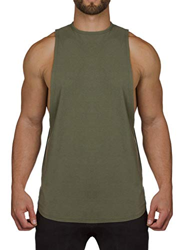 - Ouber Mens Gym Workout Fitness Tank Top T-shirt Army Green, L
