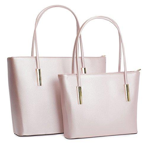 Top Golden Deco Metallic Zip Bag Shop Top in Handle 1 Big Pink Baby Tote Structured Opening 2 Handbag Shoulder PEqEx41