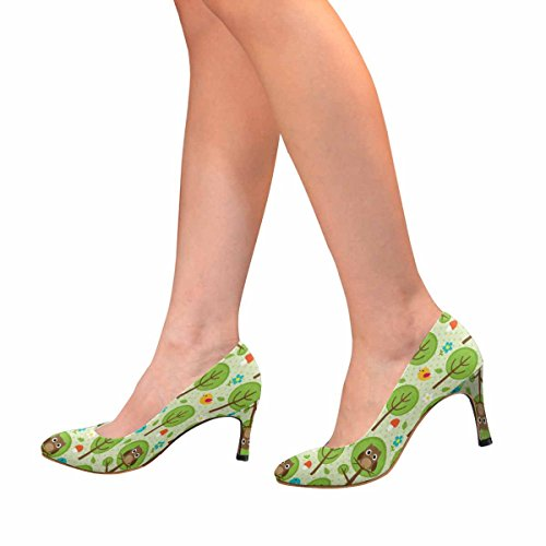 InterestPrint Womens Classic Fashion High Heel Dress Pump Forest Pattern With Owls, Birds, Trees