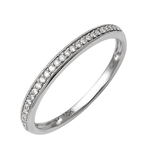 10K White Gold Diamond Wedding/Anniversary Ring Band (1/10 Carat) Size 6.5