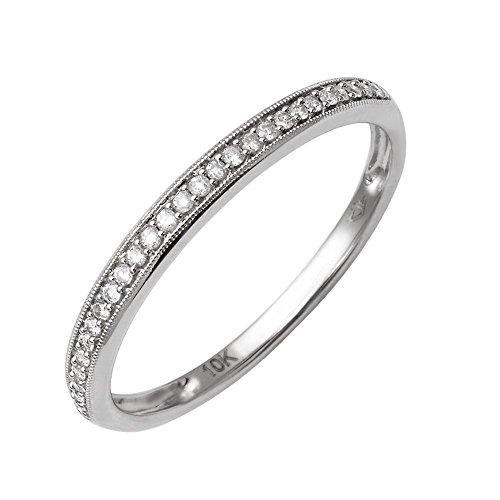 10K White Gold Diamond Wedding/Anniversary Ring Band (1/10 Carat) ()