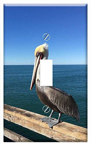 Switch Plate Single Toggle - Pelican Ocean Pier Beach Bird Wildlife Sea Blue 1 (Plates One Bird Pier)