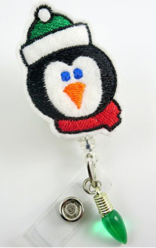 Christmas Penguin - Nurse Badge Reel - Retractable ID Badge Holder - Nurse Badge - Badge Clip - Badge Reels - Pediatric - RN - Name Badge Holder