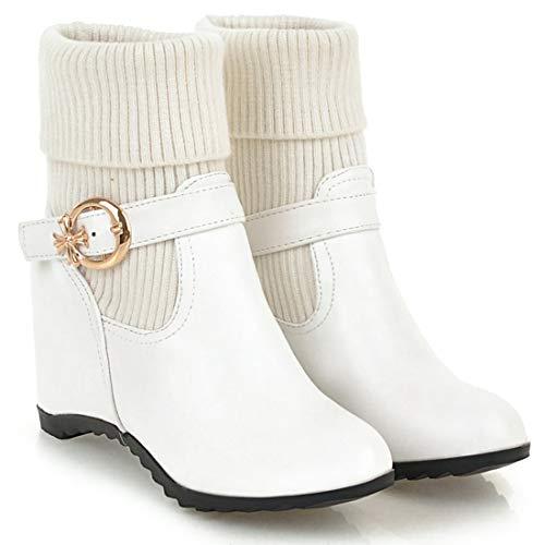 Cuir Bottes Blanc Cheville Plat Juhealt Sur Femme 5 Jushee Souple Cm Glisser qwFR8nBv