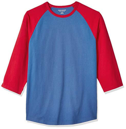 Amazon Essentials Men's Regular-Fit 3/4 Sleeve Baseball T-Shirt, Blue/Red, - Blue Red T-shirt