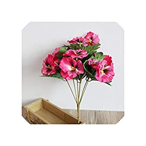 Liliy-luckly Ornament Simulation Plant Hotel Wedding Bouquet Pansy Home Office Decor,Rose Red 91