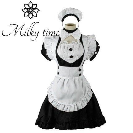 [milky time] 영국풍 메이드 복 카츄샤 부착 무릎 길이 메이드 M / L