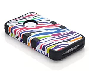 MagicSky Plastic + Silicone Tuff Dual Layer Hybrid Colorful Zebra Paint Case for Apple iPhone 4 4S 4G - 1 Pack - Retail Packaging - Black