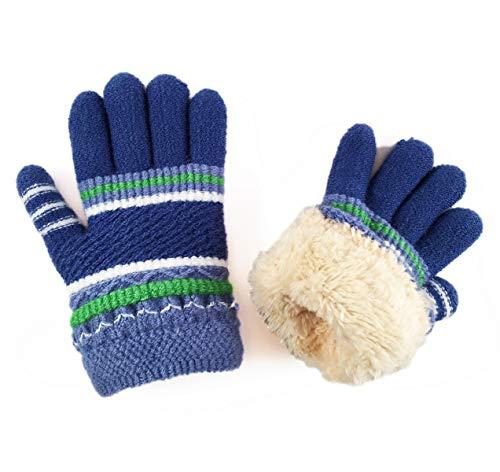 Kids Winter Ski Snow Iceskating Gloves Mittens Knit Fuzzy Fleece Lining for Toddlers Boy Girl/Little Boy Girl (Blue)