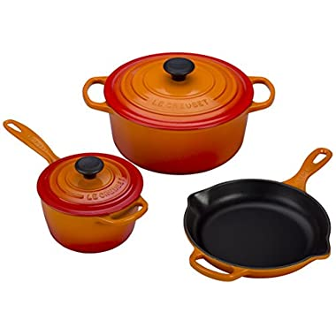 Le Creuset of America 5 Piece Signature Enameled Cast Iron Cookware Set, Flame