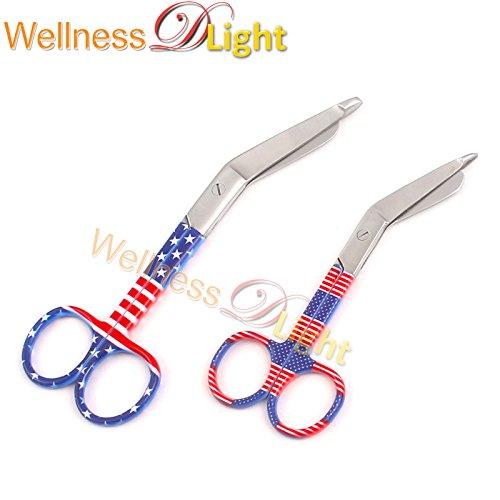 Wdl 2 Pcs Lister Bandage Nurse Scissors 4.5''+5.5'' American Flag Pattern by WellnessD'Light