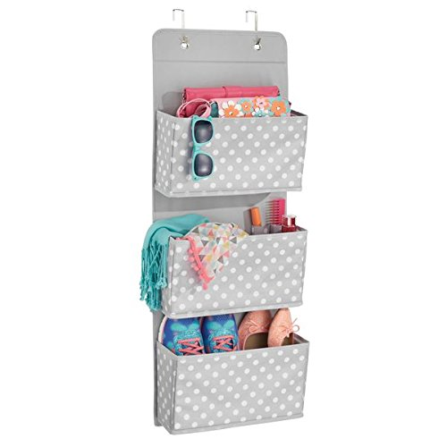 mDesign Fabric Over Door Hanging Closet Storage Organizer for Bedroom – 4 Pocket, Gray/White by mDesign