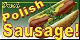 Concession graphics -12 in x 6 in - POLISH SAUSAGE - Weatherproof DECALS