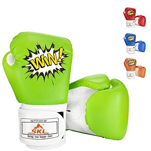 SKL Kids Boxing Gloves 4oz Training Gloves for Children Cartoon Sparring Boxing Gloves Training Mitts Junior Punch PU Leather Age 5-12 Years Green