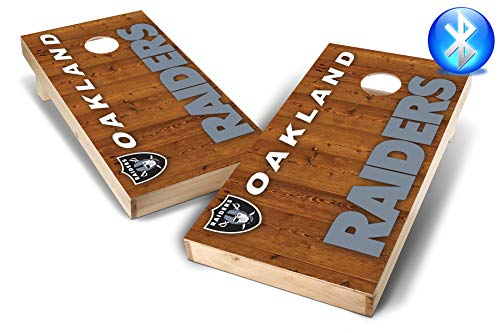 PROLINE NFL 2'x4' Cornhole Board Set with Bluetooth Speakers - Vertical Design, Oakland Raiders
