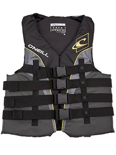 O'Neill Mens Superlite USCG Life Vest 4XL Black/Graphite/Smoke/Yellow (4723) (Vest Mens 4 Buckle)