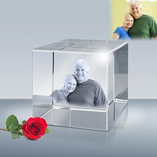 (Personalized Photo Etched Crystal Flat Cube, Engraved Picture Glass Cube by Goodcount (L - 3