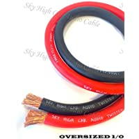 40 ft CCA 1/0 Gauge Oversized 20 RED & 20 BLACK Power Ground Wire Sky High Car