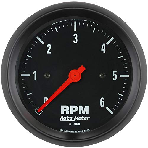 AutoMeter 2695 Z-Series In-Dash Electric Tachometer 3-3/8 in. Black Dial Face Fluorescent Red Pointer White Incandescent Lighting Electric Air-Core 0-6000 RPM Z-Series In-Dash Electric Tachometer Black Dial Red Meter