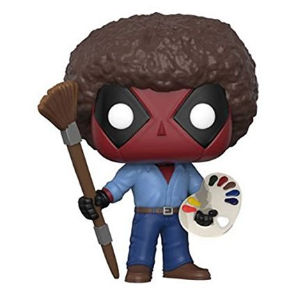 Deadpool Playtime Bob Ross Pop Vinyl Figure and keychain