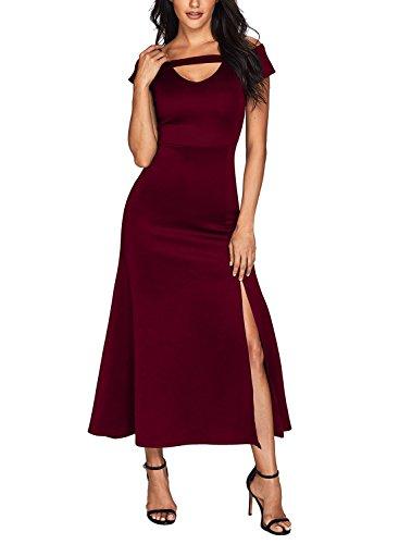 Bulawoo Women's NightClub Short Sleeve Sexy Cold Shoulder Flared Maxi Party Dress Medium Size Burgundy