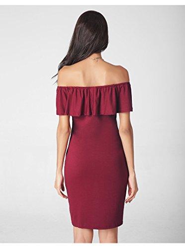 Robe Eté Mini Soirée Plage Vineux De Epaule Coton Rouge Nu Pour Mélange Femme Acvip En ABv54qqw