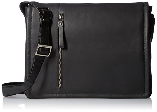 Visconti Visconti Foster 13.3 Inch Distressed Oiled Leather Laptop Messenger Bag, Black, One Size by Visconti