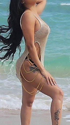 Cortos Playa Mangas Vestidos Casual Playa Sin Playa Fiesta Ropa Cuello Perspectiva Dresses De Para Up Halter Oro Bikini Cover V Verano Mujer Moda Señoras Tunicas wcFWcA0qR