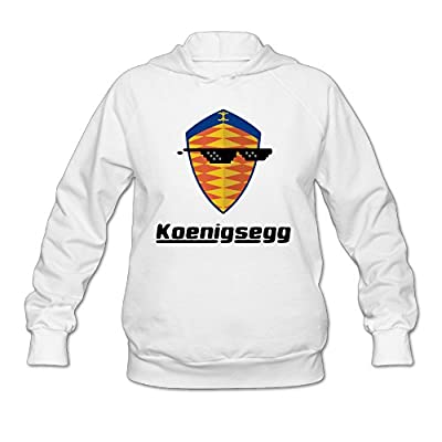 Wesley Sunglass With Koenigsegg Car Logo Wen's Fashion Fleece Hoodie White