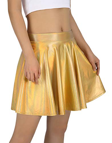 HDE Women's Shiny Liquid Metallic Holographic Pleated Flared Mini Skater Skirt (Gold, -