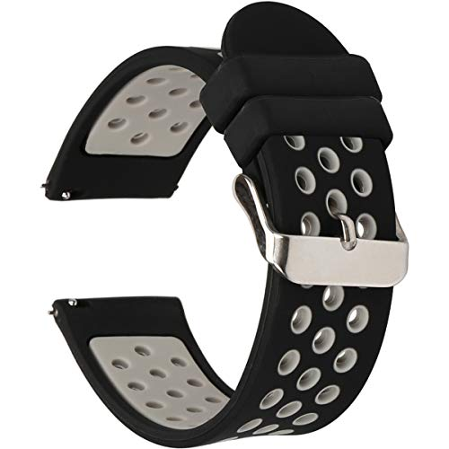Universal 18mm 20mm 22mm 24mm Width Silicone Watch Band Replacement (20mm, Black-Grey)
