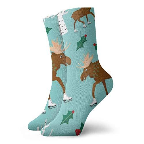 - WEEDKEYCAT Cartoon Moose Skate Adult Short Socks Cotton Gym Socks for Mens Womens Yoga Hiking Cycling Running Soccer Sports