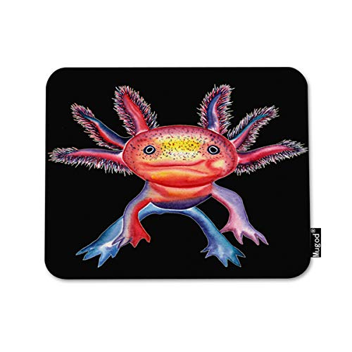 (Mugod Mouse Pad Mexican Axolotl Walking Fish Tropical Freshwater Aquarium Decor Gaming Mouse Pad Rectangle Non-Slip Rubber Mousepad for Computers Laptop 7.9x9.5 Inches)