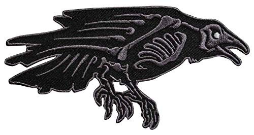 Embroidery Patch Skelli Bones Raven Crow Bird Creepy 5
