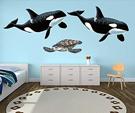 Giant Orca Whale Wall Sticker Use This Decal On It S Own Or With Other Sea Creatures Animal Wall Art Decals To Create An Amazing Sea Life Themed Bedroom Mural Buy
