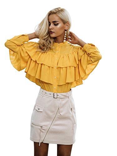 Yellow Ruffle (Simplee Women's Elegant Autumn Long Sleeve Ruffles Chiffon Blouse Shirt Tops)