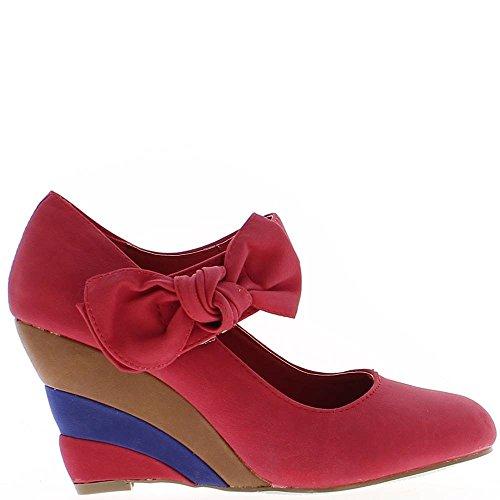 Offset de mujer roja con multicolor tacón de 8cm con pinzas