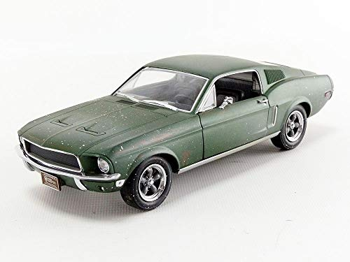 1968 Ford Mustang GT Fastback Green Unrestored Steve McQueen Collection (1930-1980) 2018 Detroit Auto Show 1/24 Diecast Model Car by Greenlight 84043