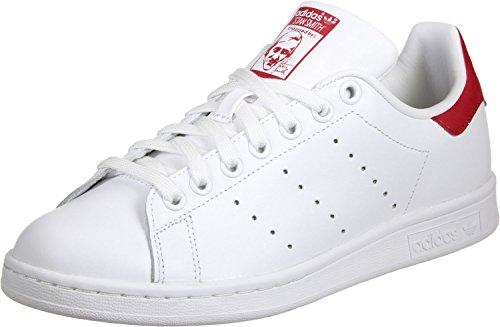 Adidas Heren Stan Smith Lederen Trainers Wit-rood