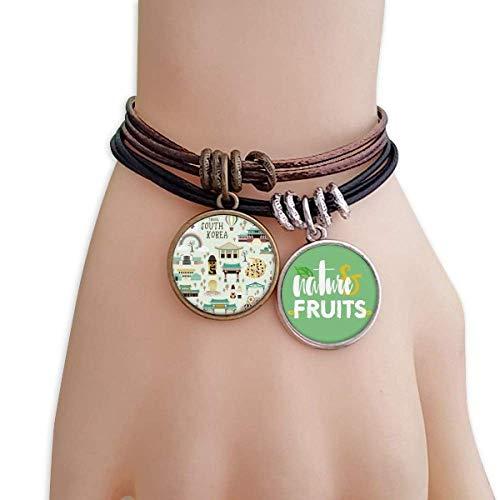 DIYthinker Korea Most Famous Landmarks Bracelet Rope Natural Fruit Wristband