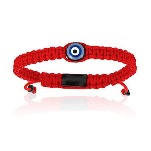 Double Bone Evil Eye Handmade Braided Bracelet with Black PVD Lucky Eye Unisex and Adjustable (Red, 20.5)